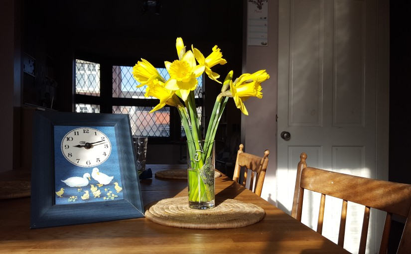 Clock and daffodils